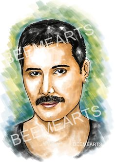 Beemearts Digital Caricature of Freddie Mercury Celebrity Drawings, Freddie Mercury, Caricature, Love Of My Life, Mona Lisa, Digital Art, Sketches, Portraits, Celebrities