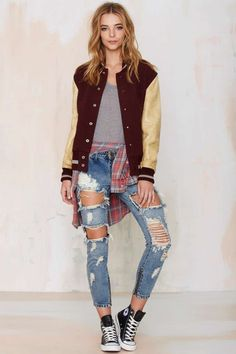Vintage drea varsity jacket - jackets + coats sweaters and j Winter Coats Women, Coats For Women, Jackets For Women, Clothes For Women, Women's Jackets, Letterman Jacket Outfit, Leather Varsity Jackets, Cool Outfits, Casual Outfits