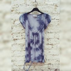 Womens Top Grey & Black Tie Dye Low Cut Tee with side ties to fit UK size 10 or US size 6 Fall Fashion