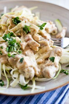 Creamy Chicken Zucchini Fettuccine | by Sonia! The Healthy Foodie