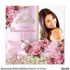 Quinceanera Pretty Pink Roses Tiara Photo Birthday 5.25x5.25 Square Paper Invitation Card