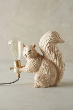 Seated Squirrel Handcarved Woodlore Lamp - anthropologie.com