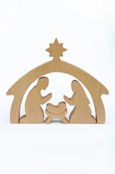 5 delige houten kerststal Nativity Set door WoodAndYarnToys
