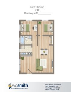 Two Bedroom Floor Plan | New Horizon in Southeast Washington DC | WC Smith #Apartments | Skylands #Rentals