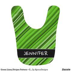 Green Lines/Stripes Pattern + Custom Name Baby Bib Baby Bibs, Baby Names, Stripes, Green, Pattern, Color, Design, Bibs, Patterns