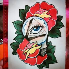 Neo traditional all seeing eye lightbulb rose tattoo flash * becky dee art*