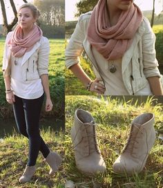 Girly Fall. Love the boot wedges with pink scarf and cream/ white jacket and sweeater. gold jewlery
