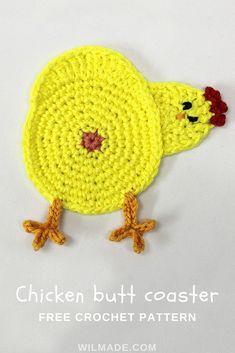 Crochet Dresses Patterns How funny is this peeking chicken butt coaster! Crochet Coaster Pattern, Crochet Motif, Crochet Stitches, Crochet Home, Crochet Gifts, Diy Crochet, Tricot Simple, Crochet Chicken, Debbie Macomber