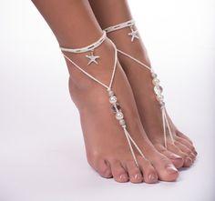 A piedi nudi sandali/Crochet sandali a piedi nudi/spiaggia sposa/Bridal Footless scarpe/Starfish sandali a piedi nudi di perline