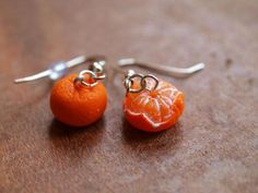 Realistic Orange Peeled Earrings, Tangerine, Miniature Food handmade from Polymer Clay by Mignonnerie on ezebee.com
