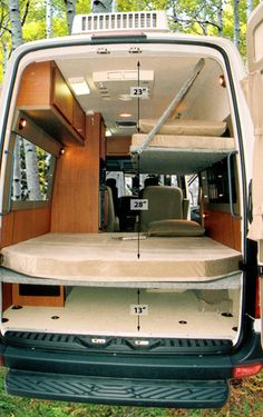 Sportsmobile offers 50 camper van plans or will customize to meet your camping/travel needs, since Two and four wheel drives, gas and diesel vans. Second home/second car. Van Conversion Layout, Van Conversion Interior, Sprinter Van Conversion, Camper Van Conversion Diy, Sprinter Camper, Kangoo Camper, Custom Camper Vans, Custom Campers, Campervan Bed