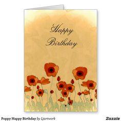 Poppy Happy Birthday Greeting Card