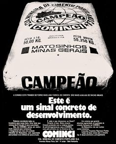 Anúncio cimento Cominci - 1973