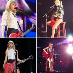 Taylor Swift on her red tour with her guitars <3