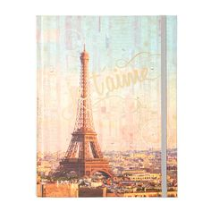 """Plan the perfect trip to Paris or jot down daydreams. This journal is the perfect spot to write down what's on your mind. The cover is decorated with a stunning photo of the Eiffel Tower, the phrase """"Je t'aime,"""" and postmarks in the background. Lined pages feature Eiffel Tower graphic in one corner and Paris in the other. Includes an elastic strap."""