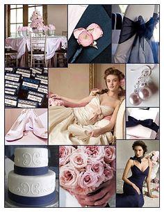Navy Blue  Pink Wedding