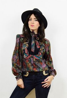 Vintage+boho+floral+pussy+bow+shirt