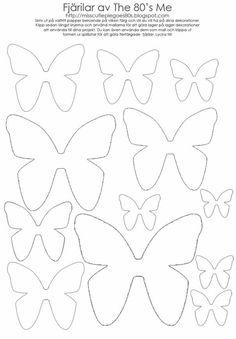 ♥ Miss Cutiepie Inspiration - Freebies & Inspiration ♥: :: Gör dina egna Fjärilar! Owl Templates, Card Making Templates, Applique Templates, Applique Patterns, Heart Template, Butterfly Template, Flower Template, Crown Template, Paper Flower Patterns