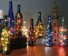 Adult Night Light or cute decoration  - Re-purposed Wine Bottles with Light String - on Etsy, $12.00