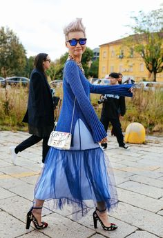 Esther Quek spotted on the street at Milan Fashion Week. Photographed by Phil Oh.