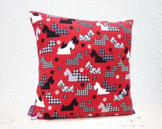 "Handmade 16""x16""/18""x18"" Cotton Cushion Pillow Cover Great Scotts Scottie Dogs Black/White/Grey on Red Houndstooth Design Print"
