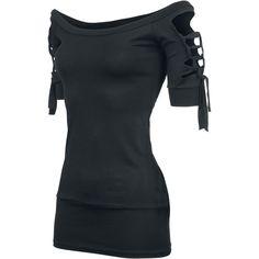 """Jede Menge Cut-Outs an den Armen und der Rückenpartie! Das bietet dir das schwarze Girl-Shirt """"Kork"""" im angesagten Vintage-Style! Mit breitem Bündchen am Taillenabschluss sorgt das schwarze Longshirt für einen besonderen Hingucker und bombensicheren Halt. 95% Viskose und 5% Elasthan schmiegen sich immer perfekt deiner Silhouette an."""