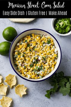 Factors You Need To Give Thought To When Selecting A Saucepan This Spicy Mexican Street Corn Salad Is The Perfect Side Dish For Tacos, Burritos, Or Enchiladas It's Easy, Gluten-Free, And A Great Make-Ahead Recipe For A Party Taco Side Dishes, Mexican Side Dishes, Best Side Dishes, Healthy Side Dishes, Side Dish Recipes, Food Dishes, Side Dishes For Fajitas, Corn Recipes, Dishes Recipes