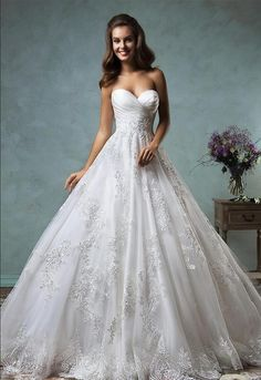 Plus Size Wedding Dresses Ball Gown 2016 Sweetheart Pleated Lace Appliques Princess Garden Church Bridal Gowns Cheap Custom