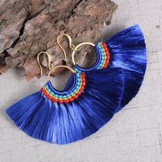 ►Fashion Tassel Earrings,Fan Earrings,Handmade Earrings,Navy Blue Tassel Jewelry,Boho Dangle Earrings For Women Unique Gift For Mom Daughter. Fabric Earrings, Fabric Jewelry, Fringe Earrings, Diy Earrings, Earrings Handmade, Macrame Jewelry, Boho Jewelry, Jewellery, Crochet Bracelet