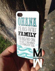 ohana quote lilo and stitch design for iPhone 4/4s/5/5s/5c, Samsung Galaxy S3/S4 Case