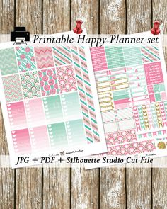 Printable Planner Stickers for the HAPPY PLANNER by MAMBI  This listing includes 2 PDF and 2 JPEG file ( 8,5 x11)  1 ZIP file( 3 Silhouette