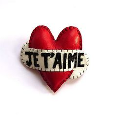 Handmade Love: Je T'Aime Heart Brooch by Love From Hetty and Dave