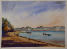 """Lagoa de Óbidos"" Watercolor on Saunders Waterford, 300g, white rough, 2013, 31x41cm"