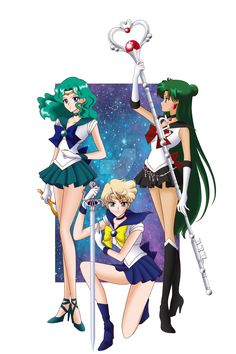 Sailor Moon S - Neptune, Uranus and Pluto by AlbertoSanCami on DeviantArt