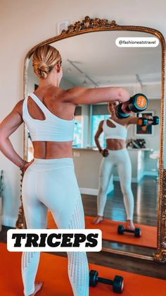 Fitness Workouts, Gym Workout Videos, Fitness Workout For Women, Fitness Tips, Triceps Workout, At Home Workout Plan, At Home Workouts, Workout For Beginners, Academia