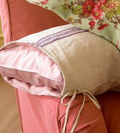 Grain Sack Pillowcase        Bring country cuteness to pillows. Line the inside of a grain sack with a colorful pillowcase. Adhere the edges of the pillowcase to the inside of the sack with fabric glue. Pull a second case over a pillow and insert the pillow in the lined grain sack.