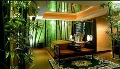 "Bamboo coming out of floor, rope defining ""planter"", river rocks; backlighting; mural; uplighting. Wow"