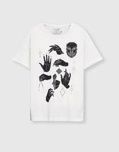 Pull&Bear - hombre - ropa - últimas novedades - camiseta iconos manos - blanco - 05237515-V2017