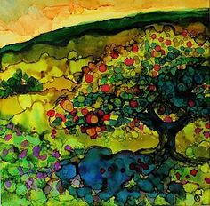 Alcohol Ink Painting - Orchard - A 229 by Catherine Van Der Woerd