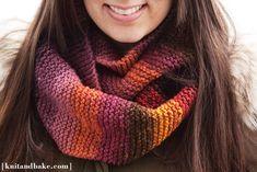 easy beginner's garter stitch cowl knitting pattern - I love the colors!