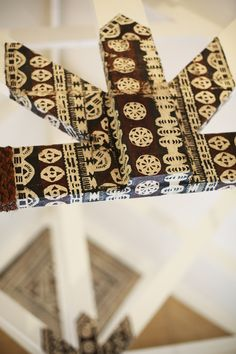 Traditional hand made tapa trim in our bures or bungalows - Musket Cove, Fiji