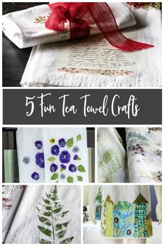 Learn about 5 different easy and affordable tea towel crafts that you can create with family and friends to keep or give away. #teatowelsdiy #diyprojects #teatowelcrafts #naturecrafts #floursacks