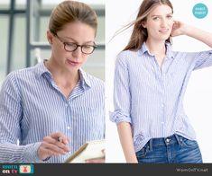 Kara's blue striped shirt on Supergirl.  Outfit Details: http://wornontv.net/53738/ #Supergirl