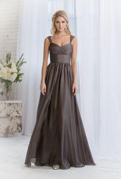 Brides.com: Grey Bridesmaid Dresses for Cold-Weather Weddings Style LR64055, amber satin chiffon bridesmaid dress, $285, Belsoie by Jasmine BridalPhoto: Courtesy of Jasmine Bridal