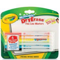 Washable Dry Erase Markers, Fine Line, 6 color set, Crayola®, BIN985906