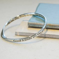 Silver Plated Bangle with twist detail and text on outside and inside which reads. Good friends are like angels. Friendship Messages, Friendship Gifts, Diy Best Friend Gifts, Gifts For Friends, Flat Pack Gift Boxes, Rose Gold Plates, Silver Plate, Tie Gift Box, Friendship Jewelry