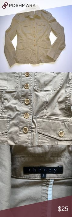 Theory khaki safari jacket Jacket is in excellent condition let me know if you have any questions. Offers are welcomed Theory Jackets & Coats