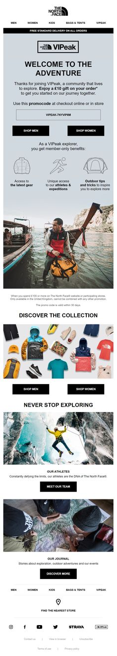 Welcome email from The North Face with personalised discount code #EmailMarketing #Email #Marketing #Welcome #Discount #Retail Welcome Emails, Outdoor Outfit, Email Marketing, The North Face, Retail, Backpacks, Outing Outfit, Shops, Backpack