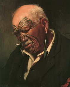"C F Goldie painting of a New Zealand maori chief called Patara te Tuhi. This picture is called ""A Hot Day. Maori Face Tattoo, Ta Moko Tattoo, Face Tattoos, Maori Tattoos, Tattoo Art, Polynesian People, Polynesian Art, Piercings, Maori People"