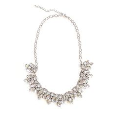 White crystal statement necklace encrusted with faux diamond crystal rhinestones.